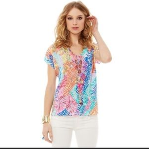 Lilly Pulitzer Asher Electric Feel 100% Silk Top